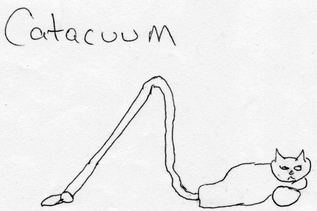 Cartoon image of a canister vaccuum drawn to look like a cat
